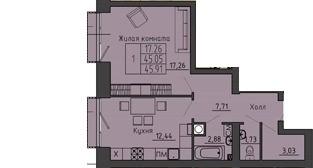 1-комнатная квартира 45.91 м² с местом под гардеробную