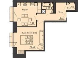 1-комнатная квартира 46.67 м² с просторным холлом и раздельным санузлом