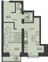 1-комнатная квартира 46.87 м² с просторным холлом