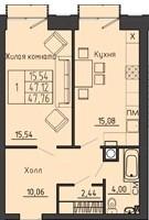 1-комнатная квартира 47.76 м² с двумя балконами