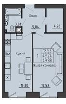 1-комнатная квартира 49.88 м² с местом под просторную гардеробную