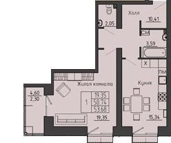 1-комнатная квартира 53.68 м² с лоджией и раздельным санузлом
