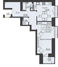 Просторная 1-комнатная квартира 54.26 м² с раздельным санузлом