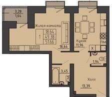 1-комнатная квартира 51.66 м² с просторным холлом и лоджией