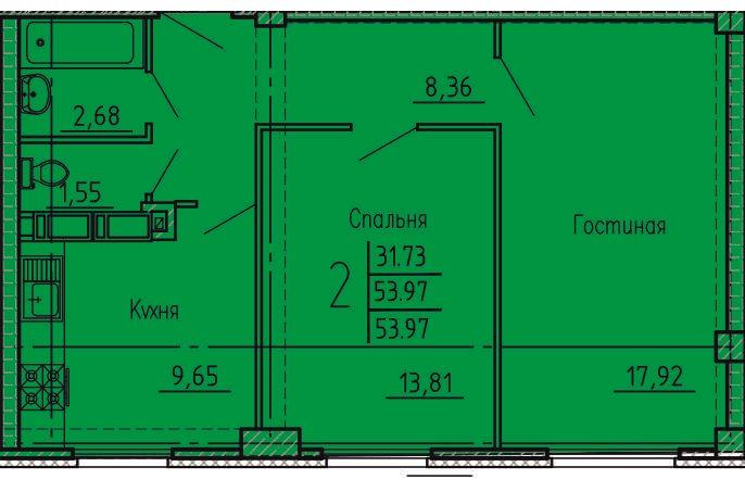 2-комнатная квартира 53.97 м² с раздельным санузлом