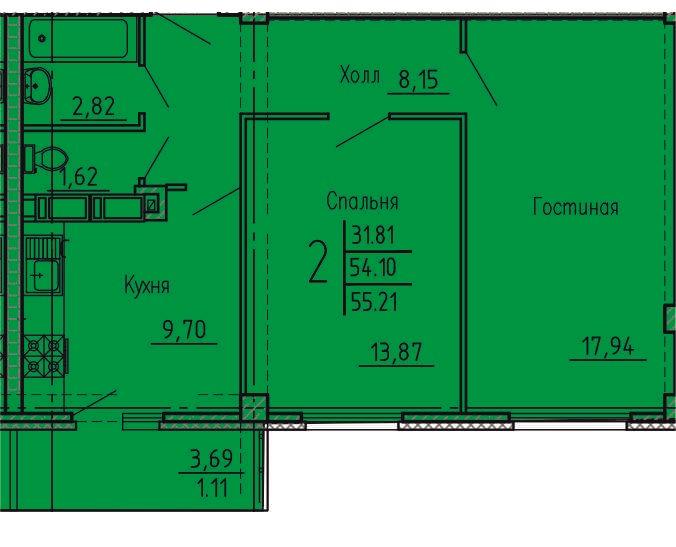 2-комнатная квартира 55.21 м² с раздельным санузлом и балконом