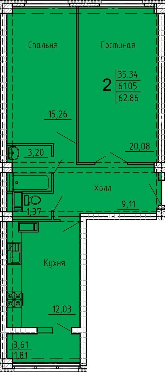 2-комнатная квартира-распашонка 62.86 м² с просторной кухней
