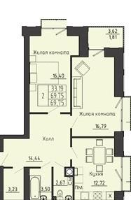 2-комнатная квартира 69.75 м² с местом под гардеробную