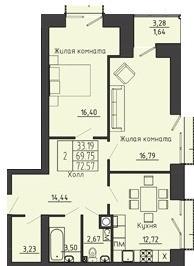 2-комнатная квартира 72.57 м² с местом под гардеробную