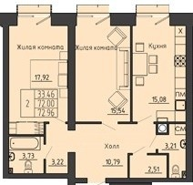 2-комнатная квартира 72.96 м² с местом под гардеробную