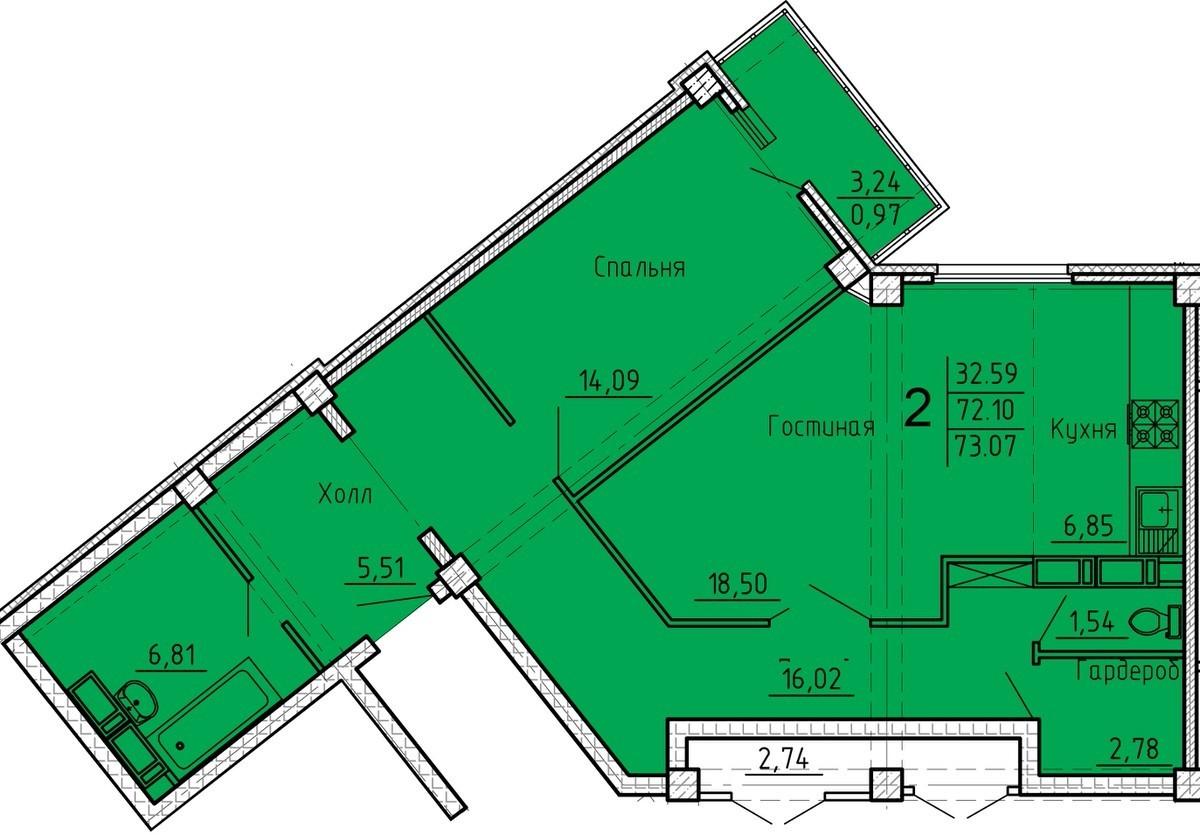 Просторная 2-комнатная квартира 73.07 м² с необычной геометрией гостиной