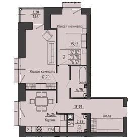 2-комнатная квартира 76.52 м² с просторным холлом