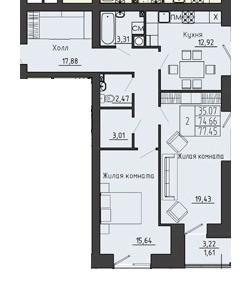 2-комнатная квартира 77.45 м² с местом под гардеробную