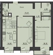 Просторная 2-комнатная квартира 78.10 м² с двумя санузлами