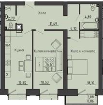 2-комнатная квартира 78.11 м² с двумя санузлами