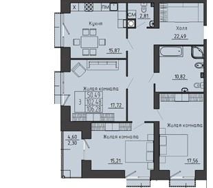 3-комнатная квартира 106.28 м² с лоджией и двумя санузлами
