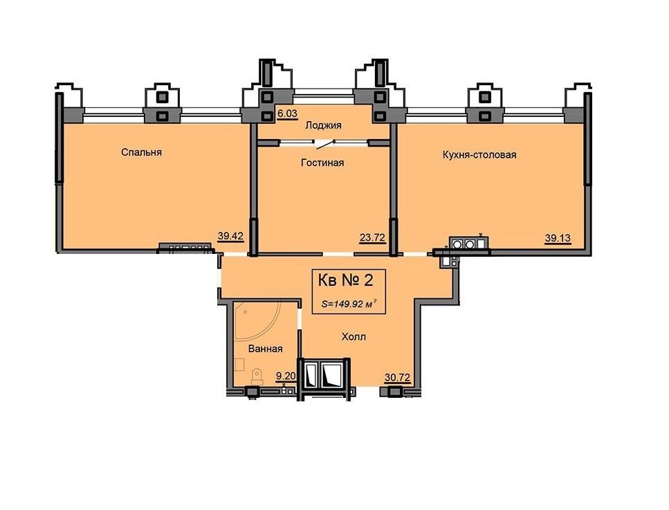Просторная 2-комнатная квартира 149. 92 м² с кухней-столовой и лоджией из гостиной