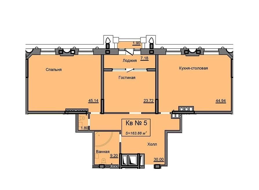 2-комнатная квартира 163.88 м² с просторной кухней-столовой, гостиной и спальней