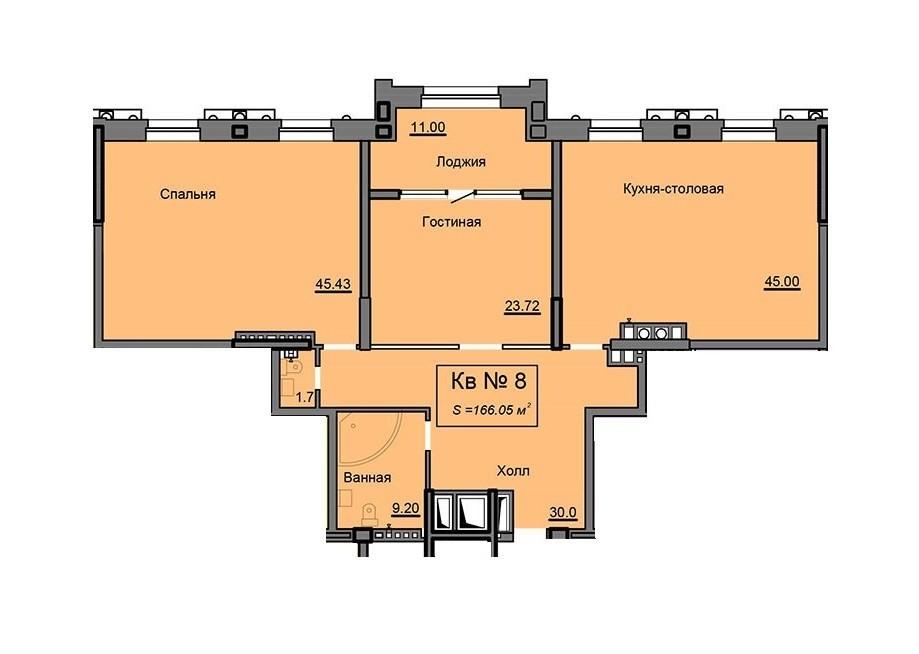 Просторная 2-комнатная квартира 166.05 м² с функциональной лоджией