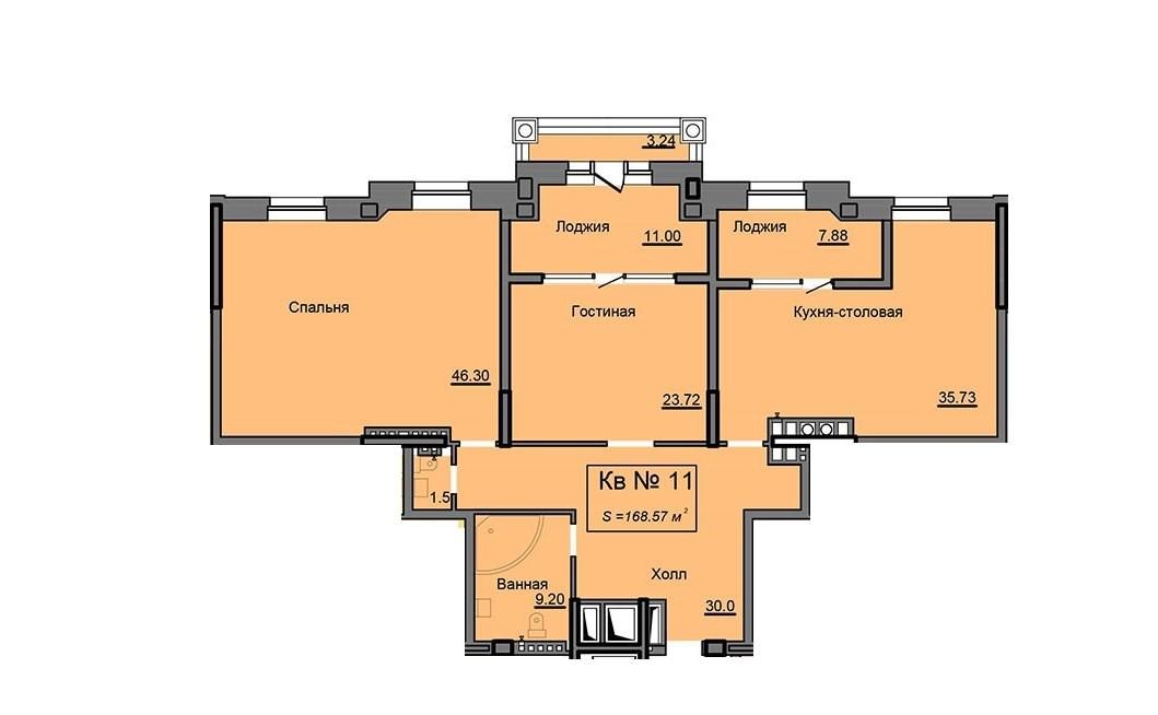 2-комнатная квартира 168.57 м² с просторными комнатами и двумя лоджиями
