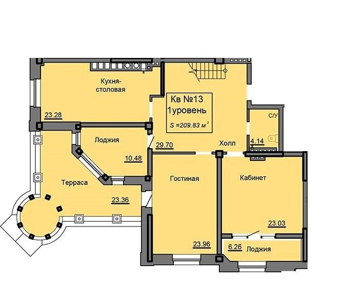 2-ух уровневая квартира 209.83 м² с террасой