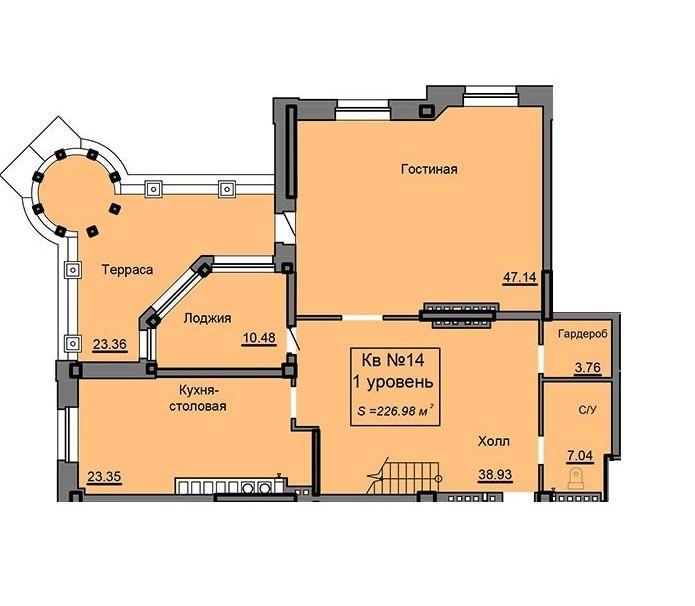 2-ух уровневая квартира 226.98 м² с террасой