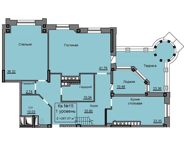 2-ух уровневая квартира 267.07 м² с террасой