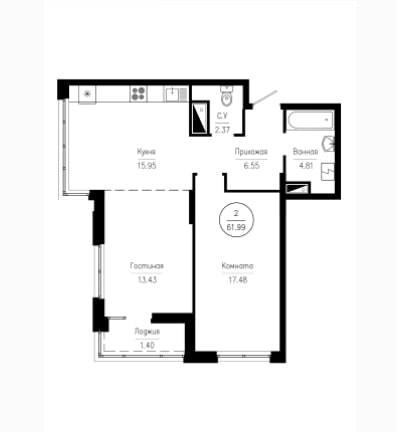 2-комнатная квартира 61.99 м² с раздельным санузлом