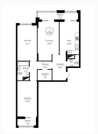3-комнатная квартира 94.86 м² с двумя лоджиями и гардеробной