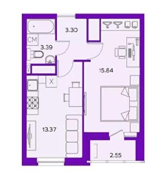 1-комнатная квартира 37.29 м² с лоджией