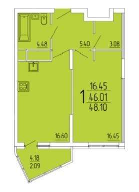 1-комнатная квартира 48.10 м² с гардеробной