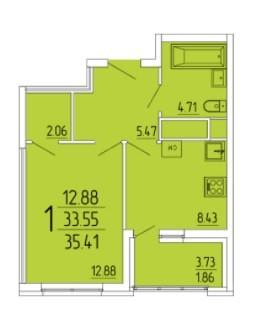 1-комнатная квартира 35.41 м² с лоджией из кухни