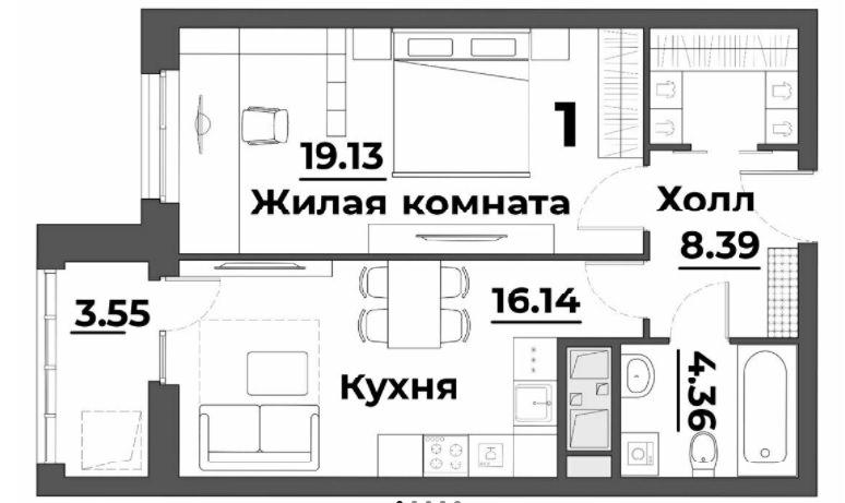 1-комнатная квартира 51.57 м² с лоджией из кухни