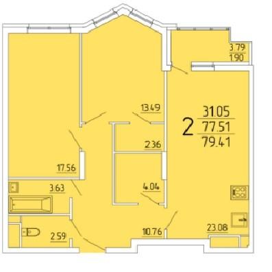 2-комнатная квартира 79.41 м² с просторной кухней