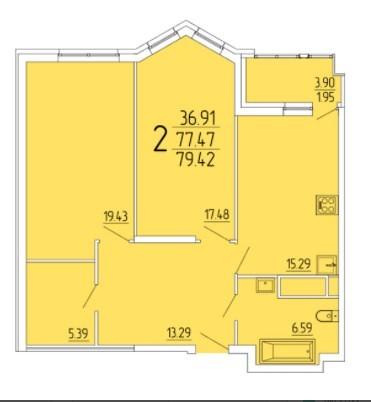 2-комнатная квартира 79.42 м² с просторными комнатами и гардеробной