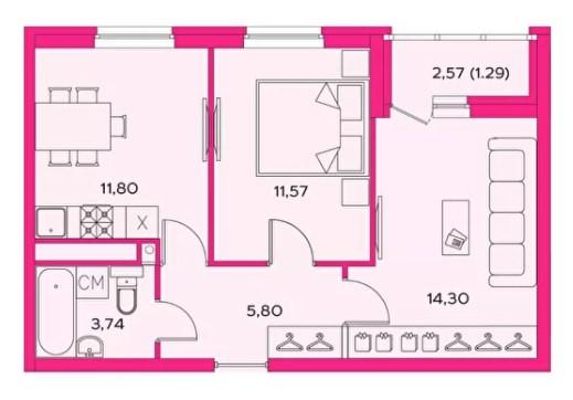 2-комнатная квартира 48.5 м² с лоджией