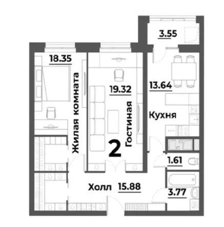 Просторная 2-комнатная квартира 60.84 м² с раздельным санузлом