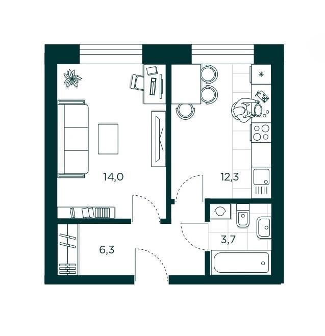 1-комнатная квартира 36.3 м² с гардеробной