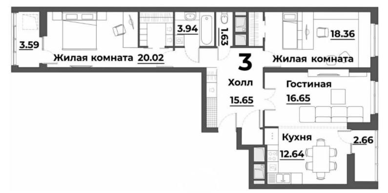 3-комнатная квартира 94.26 м² с кухней-гостиной и двумя изолированными спальнями