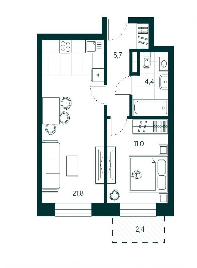 1-комнатная квартира 41 м² с просторной кухней-гостиной и изолированной спальней