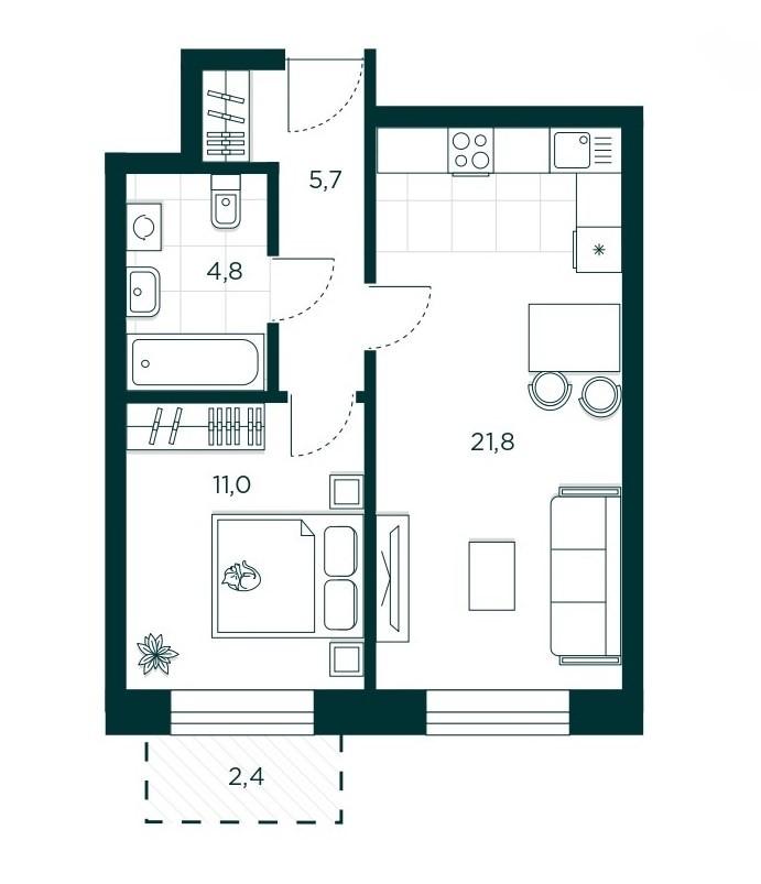 1-комнатная квартира 42.6 м² с просторной кухней-гостиной и изолированной спальней