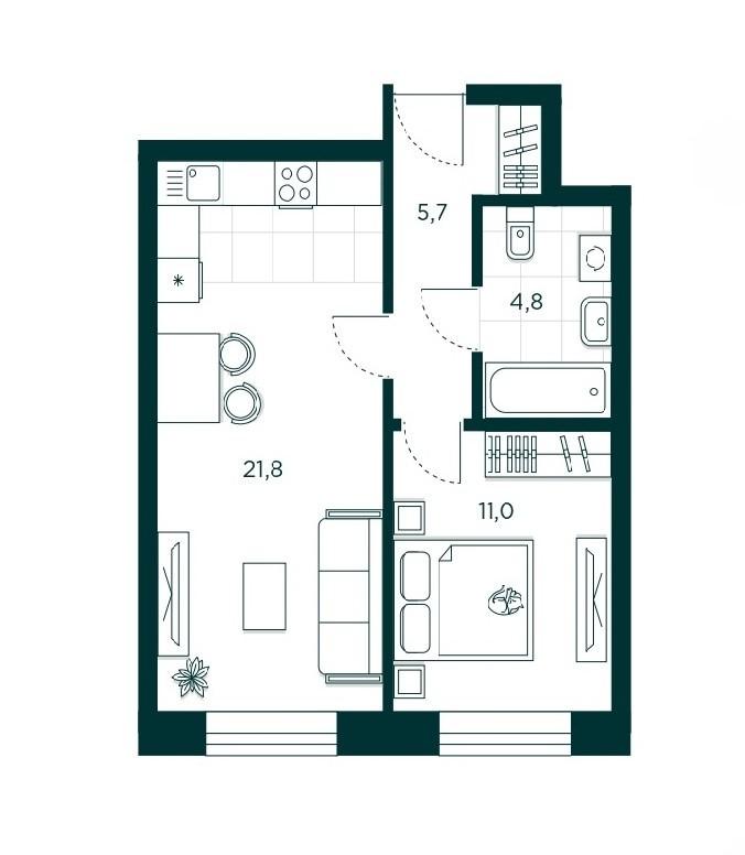 1-комнатная квартира 43.1 м² с просторной кухней-гостиной и изолированной спальней