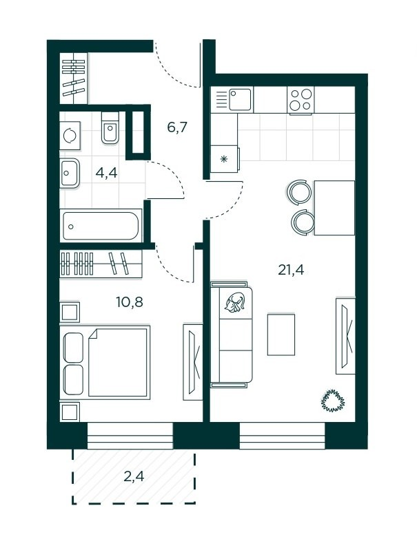 1-комнатная квартира 44.3 м² с просторной кухней-гостиной и спальней с балконом