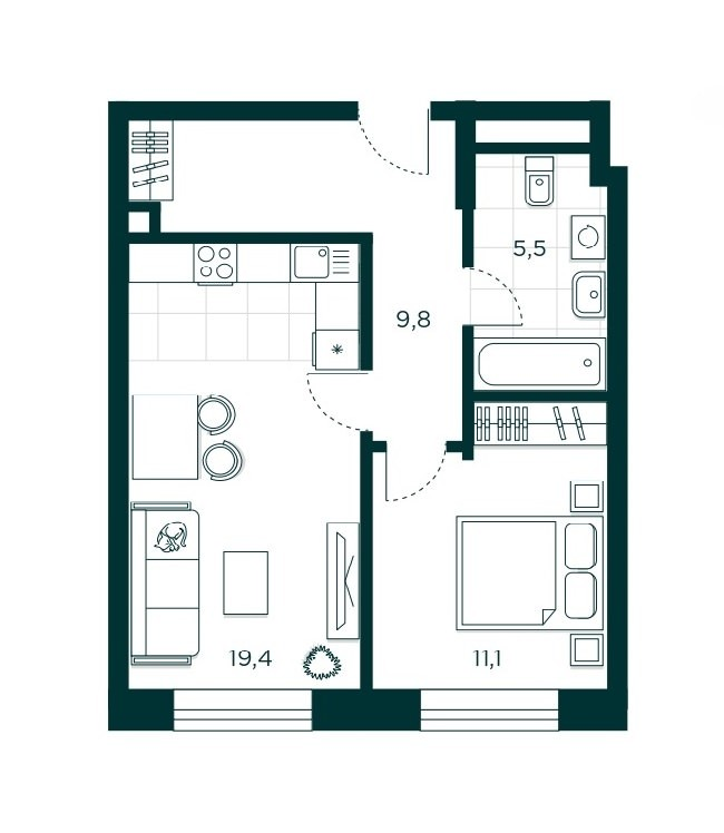 1-комнатная квартира 45.8 м² с кухней-гостиной и спальней