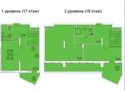 2-ух уровневая 4-комнатная квартира 124.26 м²