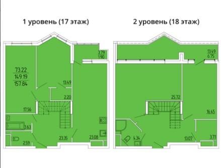 2-ух уровневая 4-комнатная квартира 157.84 м²