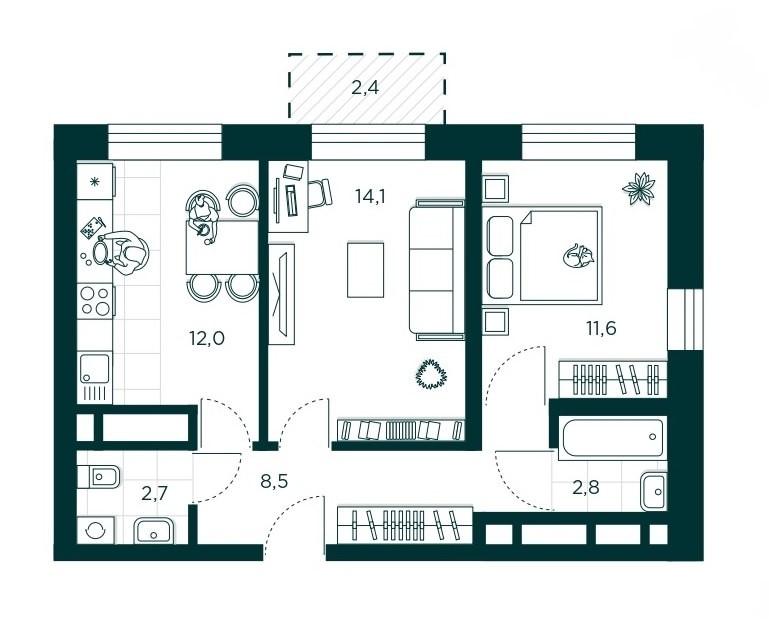 2-комнатная квартира 51.7 м² с раздельным санузлом и балконом