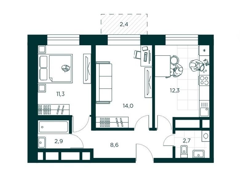 2-комнатная квартира 51.8 м² с раздельным санузлом