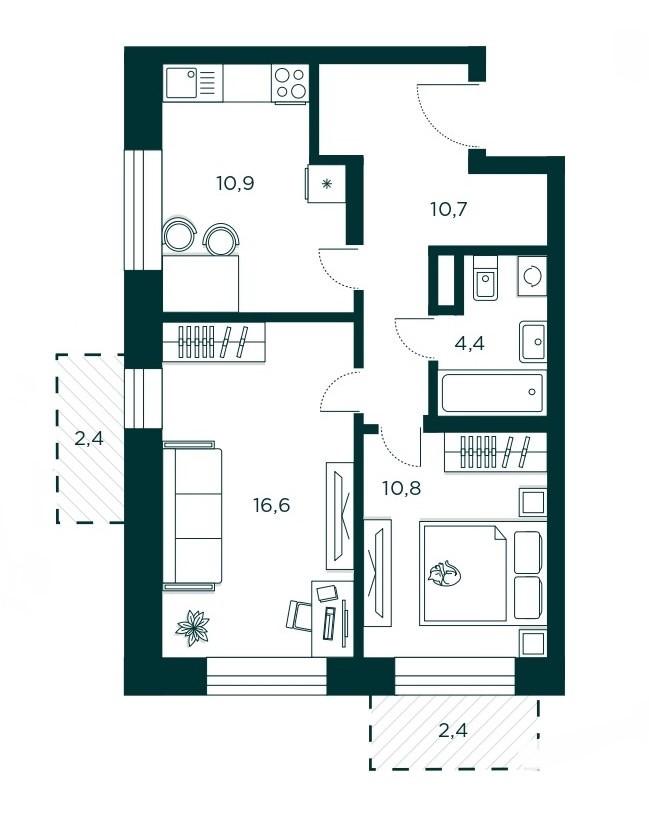 2-комнатная квартира 53.4 м² с двумя балконами