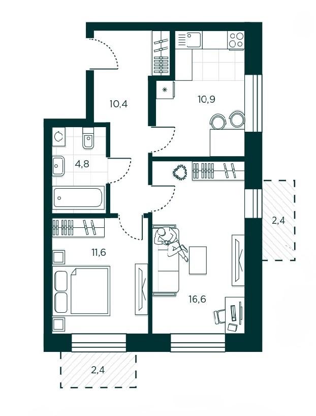 2-комнатная квартира 54.3 м² с двумя балконами